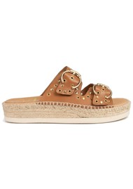 KANNA Candy Leather Buckle Sandal - Tan