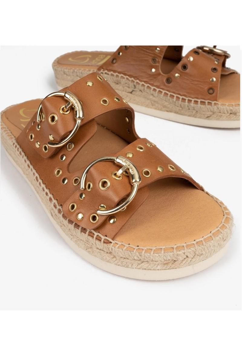 KANNA Candy Leather Buckle Sandal - Tan main image