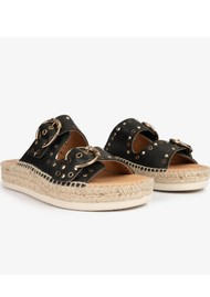 KANNA Candy Leather Buckle Sandal - Black