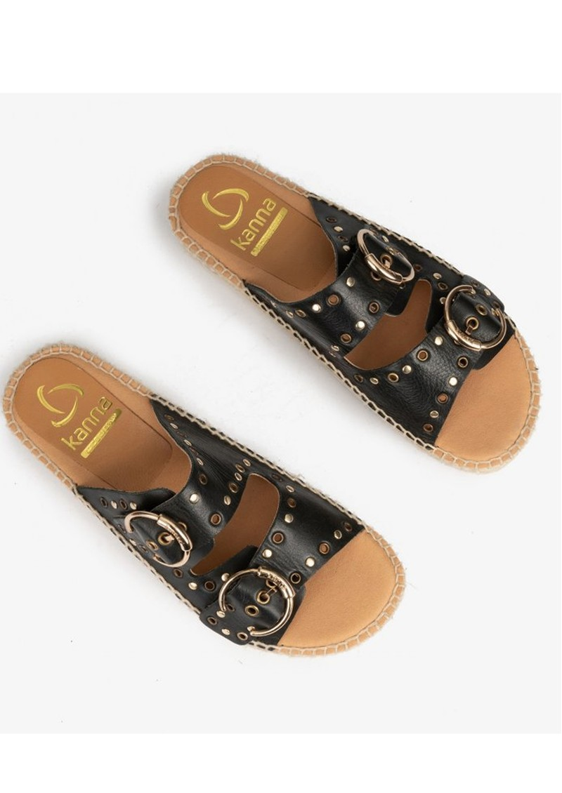 KANNA Candy Leather Buckle Sandal - Black  main image