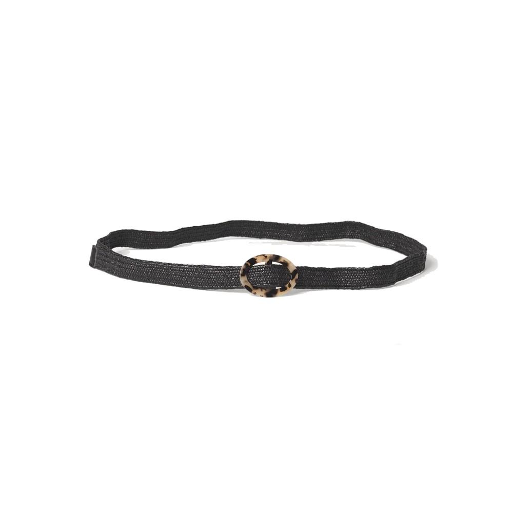 Zia Sold Straw Belt - Black