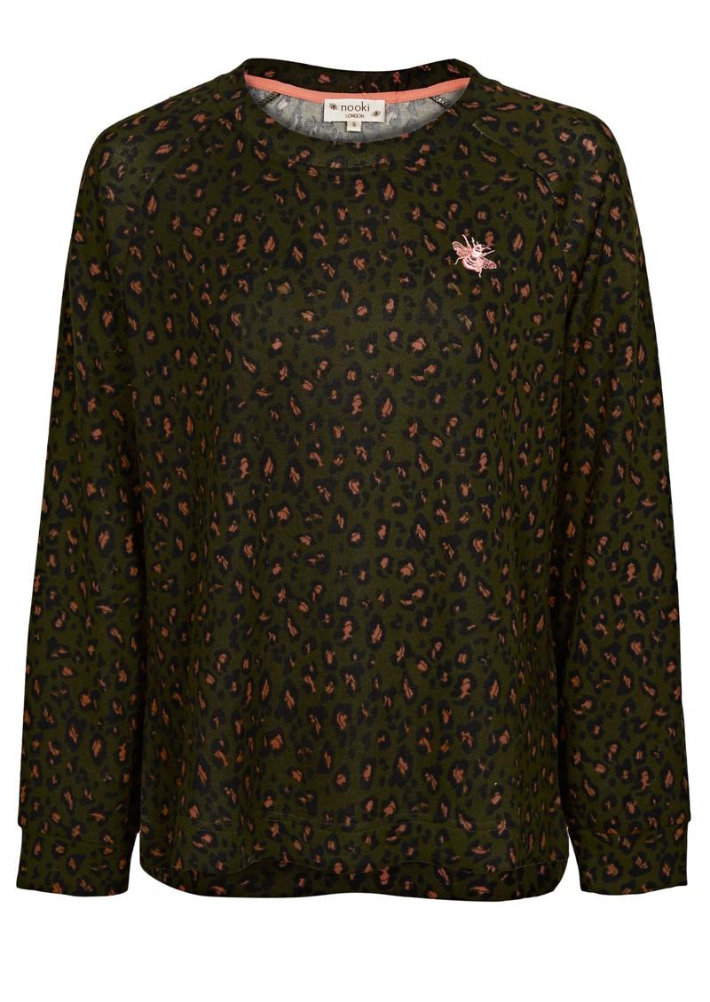 NOOKI Basher Sweater - Khaki Leopard main image