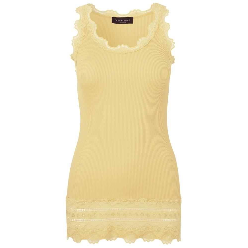 Wide Lace Silk Blend Tank - Vanilla Yellow