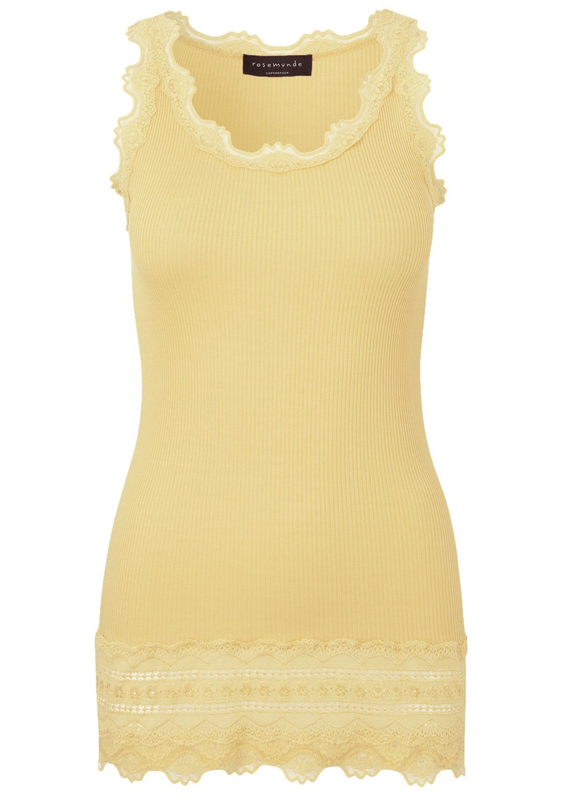 Rosemunde Wide Lace Silk Blend Tank - Vanilla Yellow main image