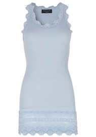 Rosemunde Wide Lace Silk Blend Tank - Heather Sky