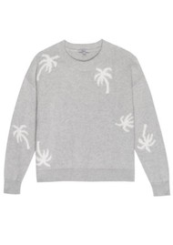 Rails Perci Knitted Sweater - Heather Grey Palms