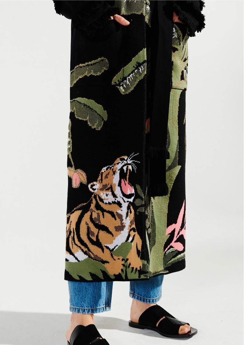 HAYLEY MENZIES Roaring Tiger Cotton Duster Cardigan - Black main image