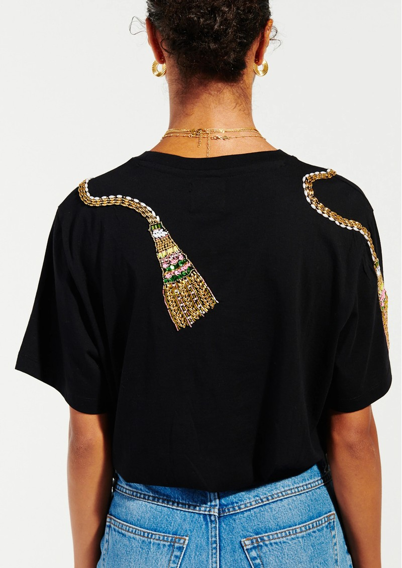 HAYLEY MENZIES Tassel Beaded Pima Cotton T-Shirt - Black main image
