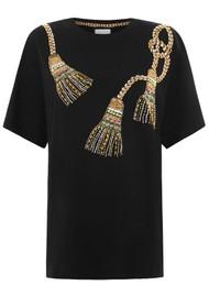 HAYLEY MENZIES Tassel Beaded Pima Cotton T-Shirt - Black