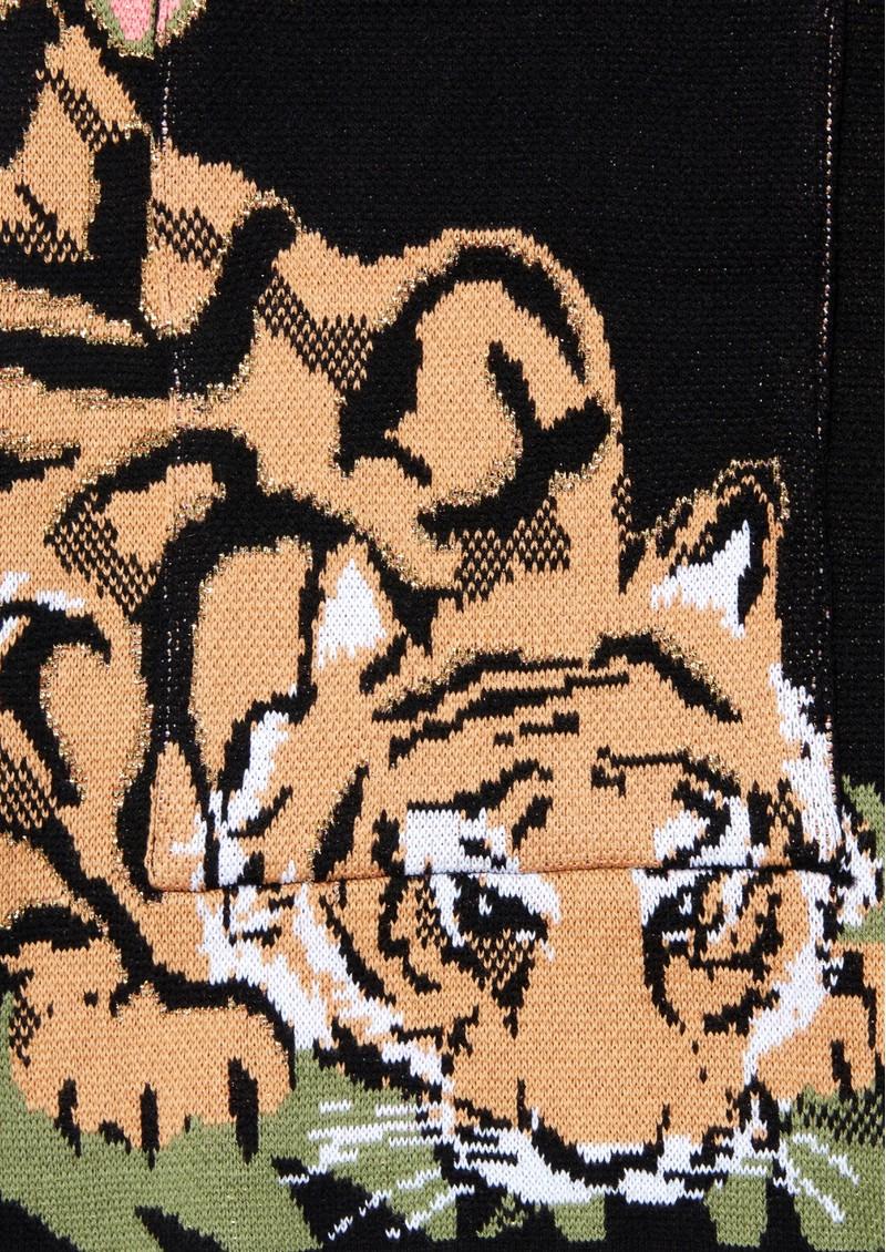 HAYLEY MENZIES Drinking Tiger Cotton Jacquard Cardigan - Black main image