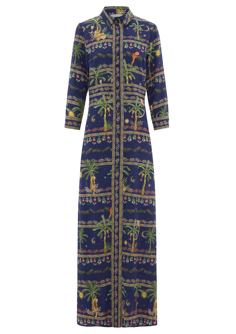 HAYLEY MENZIES Maxi Shirt Silk Dress - Twilight Safari main image
