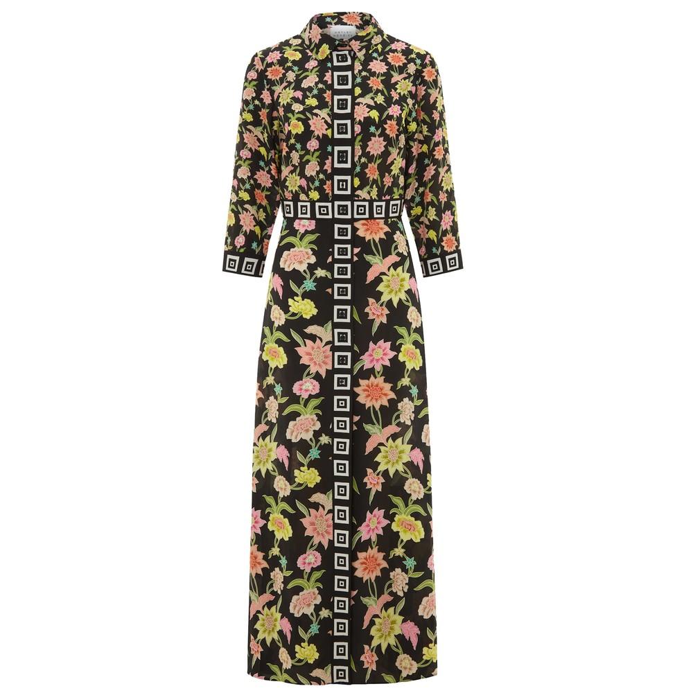 Dream Colour Maxi Silk Shirt Dress - Black Multi