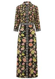 HAYLEY MENZIES Dream Colour Maxi Silk Shirt Dress - Black Multi
