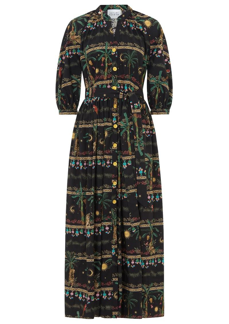 HAYLEY MENZIES Midnight Safari Organic Cotton Midi Shirt Dress - Safari Black main image
