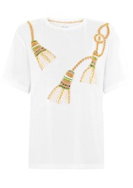 HAYLEY MENZIES Tassel Beaded Pima Cotton T-Shirt - White