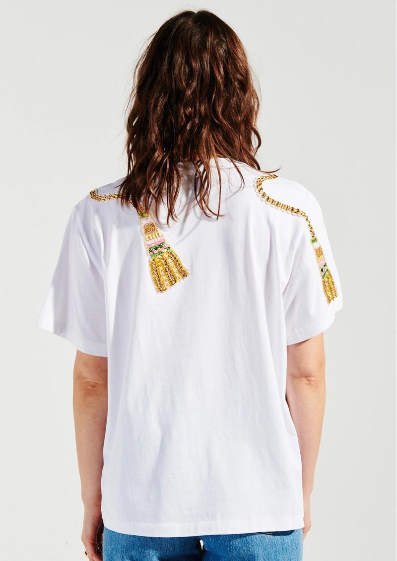 HAYLEY MENZIES Tassel Beaded Pima Cotton T-Shirt - White main image
