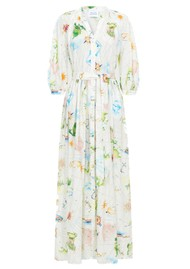 HAYLEY MENZIES Paradise Organic Cotton Midi Shirt Dress - White Multi