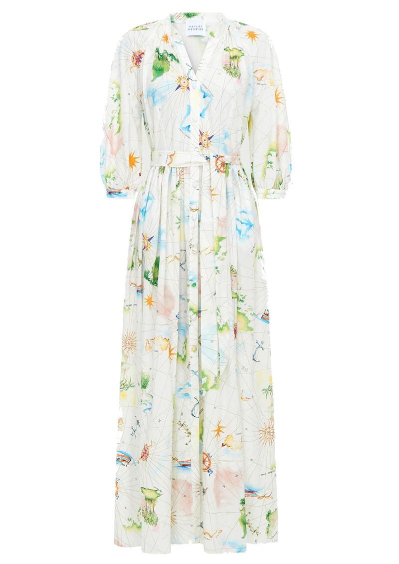 HAYLEY MENZIES Paradise Organic Cotton Midi Shirt Dress - White Multi main image
