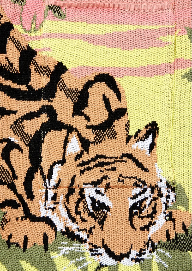 HAYLEY MENZIES Drinking Tiger Cotton Jacquard Cardigan - Pink main image