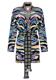 HAYLEY MENZIES Shimmering Tiger Cotton Jacquard Cardigan - Black