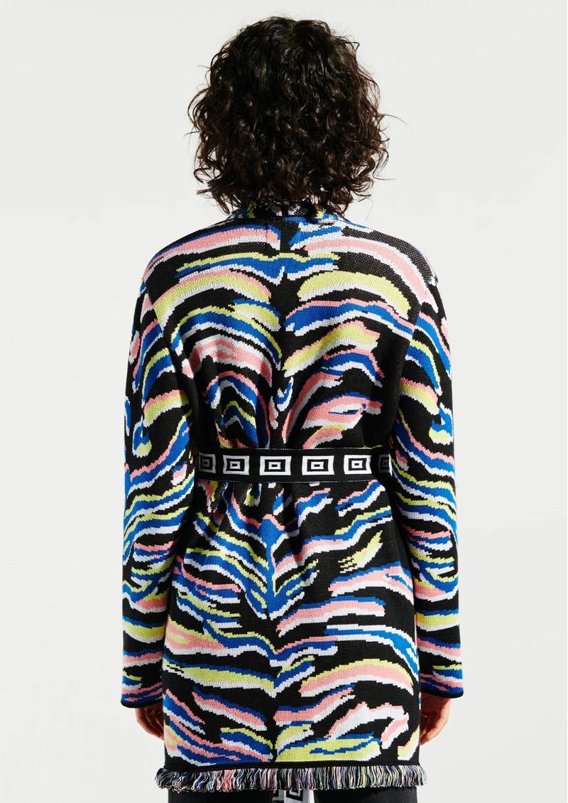 HAYLEY MENZIES Shimmering Tiger Cotton Jacquard Cardigan - Black main image