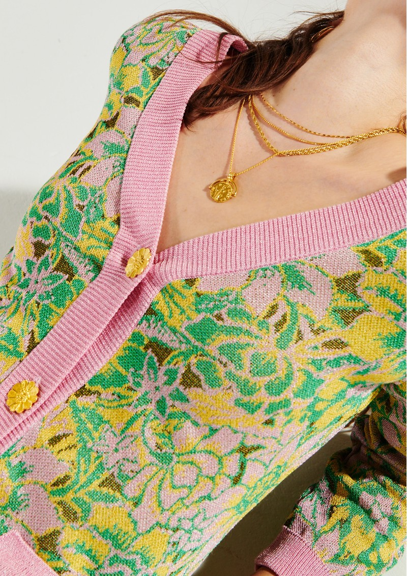 HAYLEY MENZIES Samui Blooms Jacquard Maxi Cardi Dress - Pink & Green main image