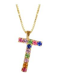 CAROLINE SVEDBOM Initial T Letter Necklace - Gold