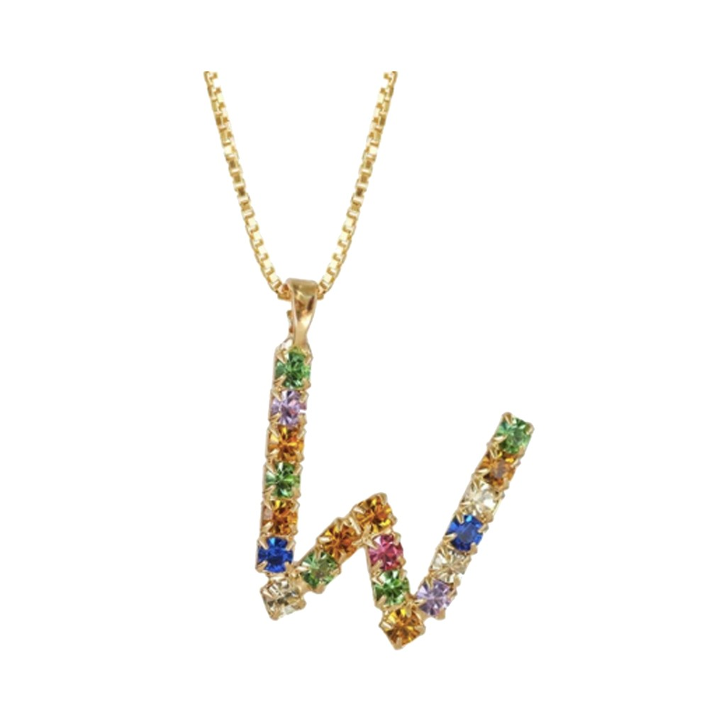 Initial W Letter Necklace - Gold