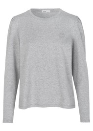 LEVETE ROOM Isol 3 Cotton Mix Long Sleeve Tee - Grey