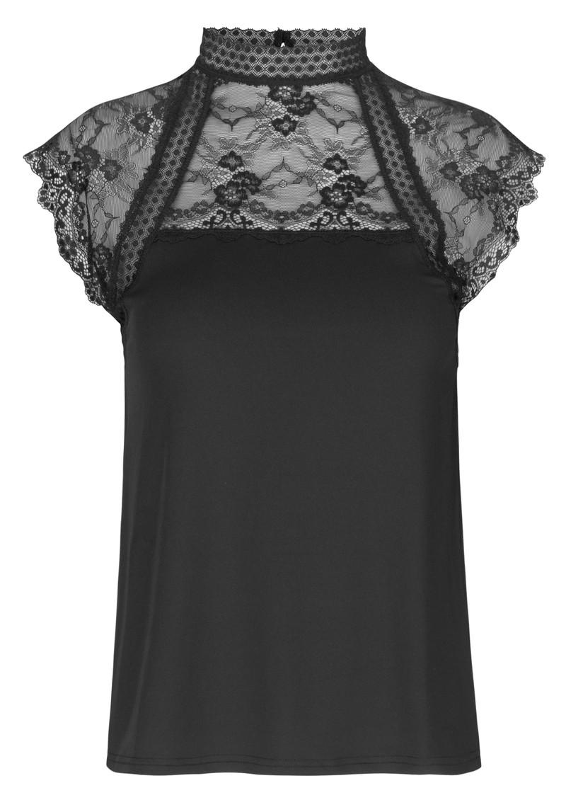 Rosemunde Brioche High Neck Lace Top - Black main image