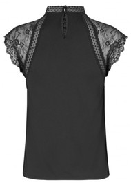 Rosemunde Brioche High Neck Lace Top - Black