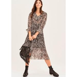 Erym Printed Midi Dress - Black