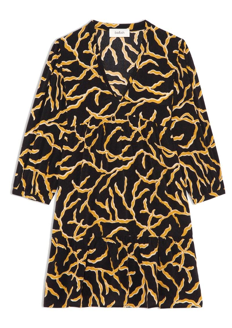 Ba&sh Constance Mini Printed Dress - Black  main image