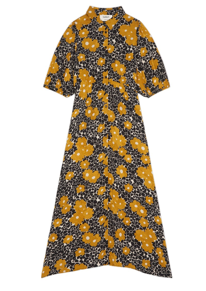 Ba&sh Babeth Printed Midi Dress - Curry  main image