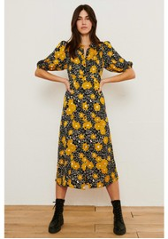 Ba&sh Babeth Printed Midi Dress - Curry
