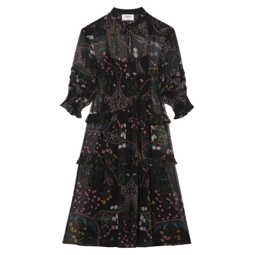 Gigi Printed Midi Dress - Black