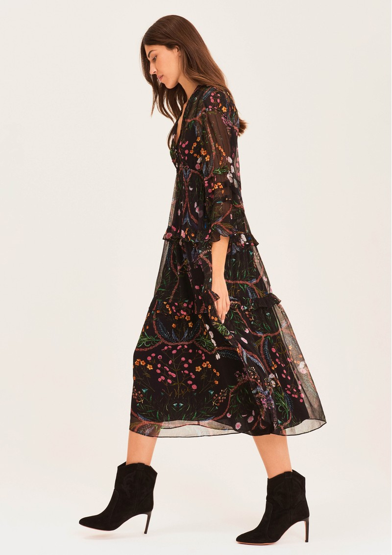 Ba&sh Gigi Printed Midi Dress - Black  main image