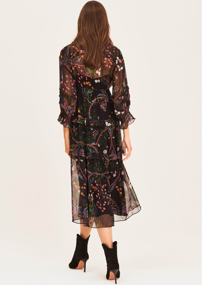 Gigi Printed Midi Dress - Black  main image