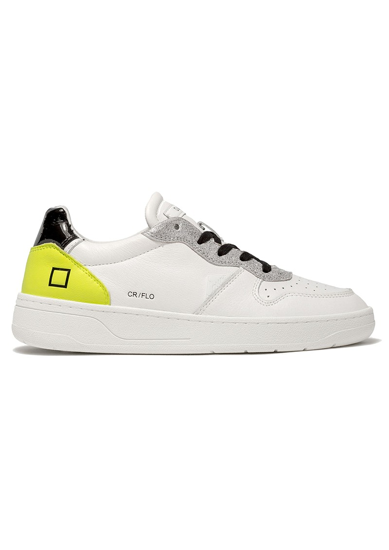 D.A.T.E Court Low Top Leather Trainers - White & Yellow main image