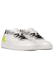 D.A.T.E Court Low Top Leather Trainers - White & Yellow