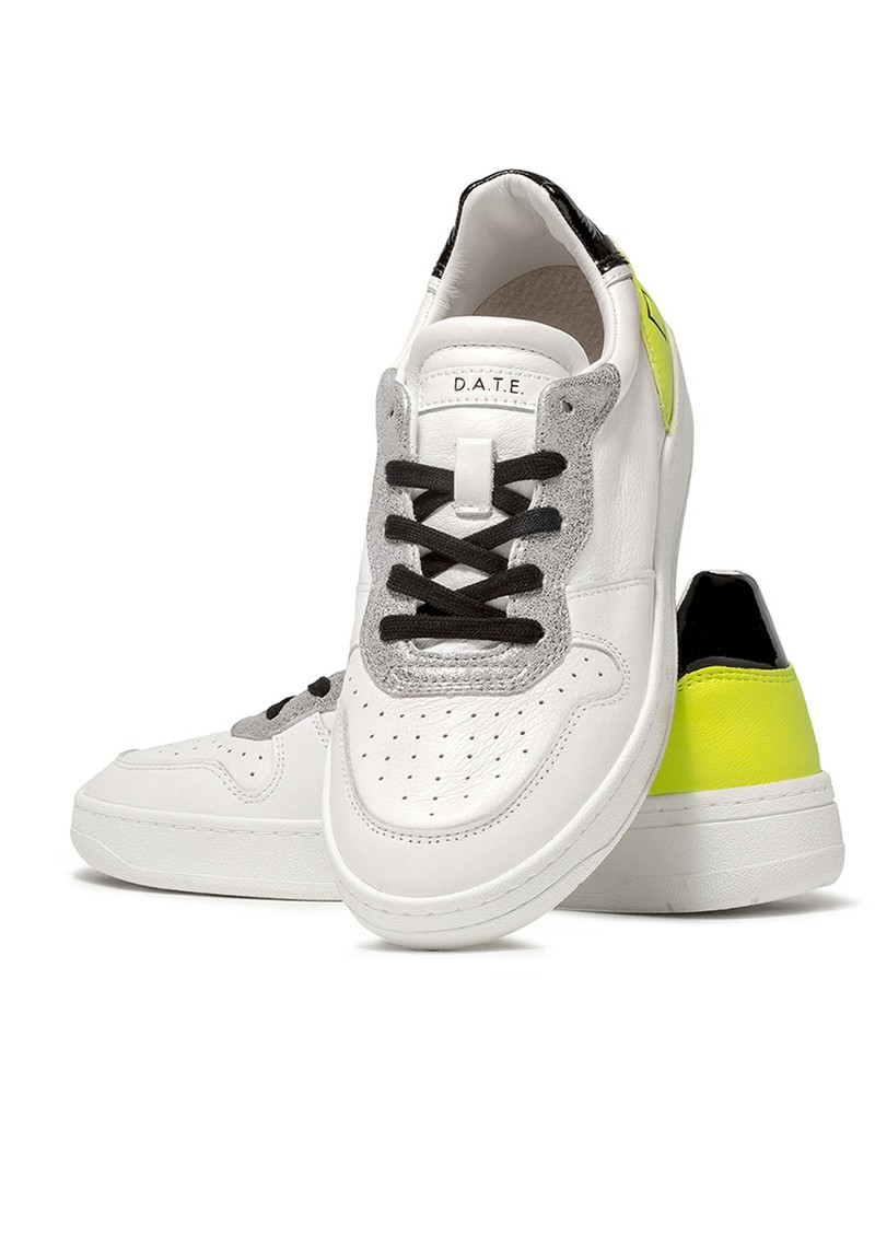 Court Low Top Leather Trainers - White & Yellow main image