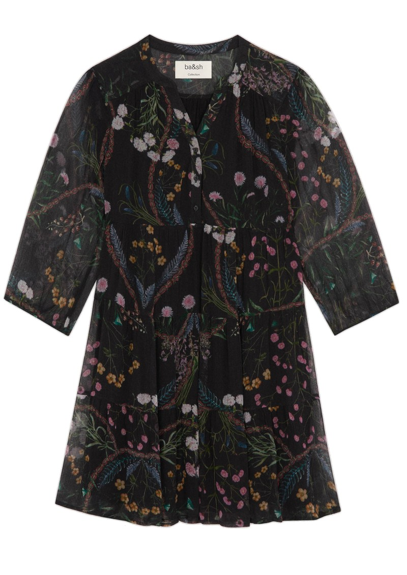 Ba&sh Goya Printed Mini Dress - Black  main image