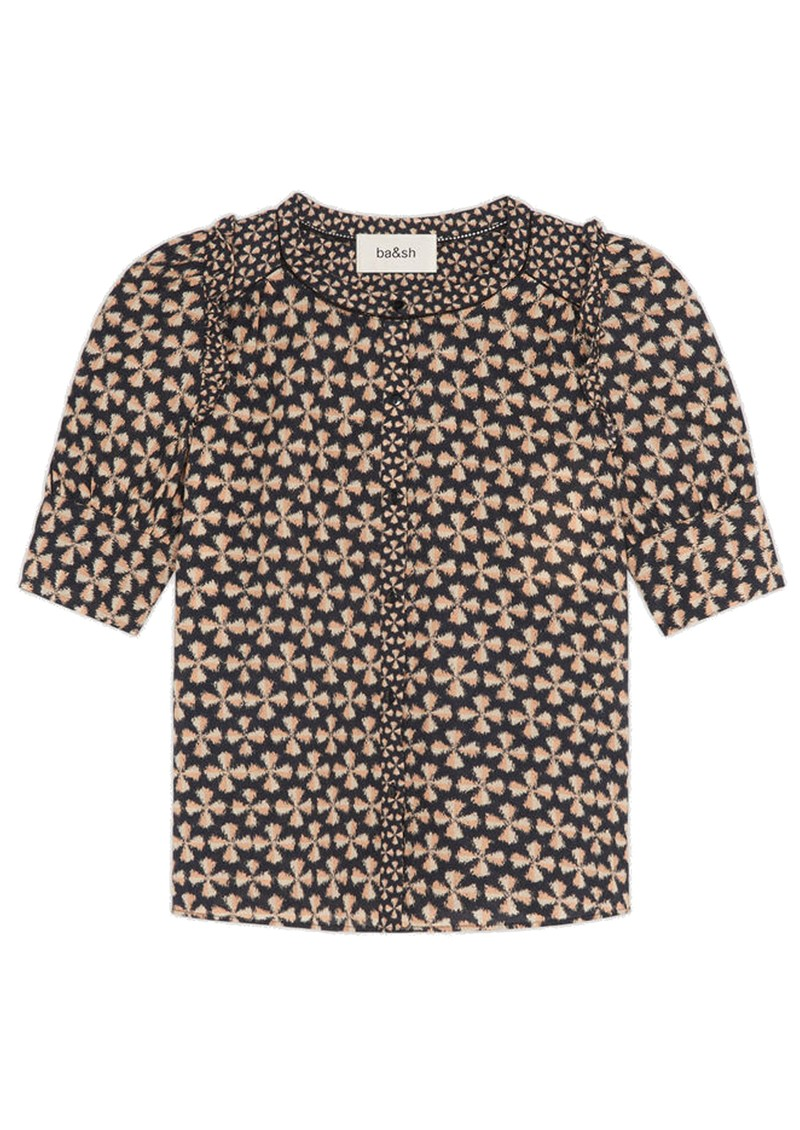 Colette Printed Cotton Shirt - Black main image