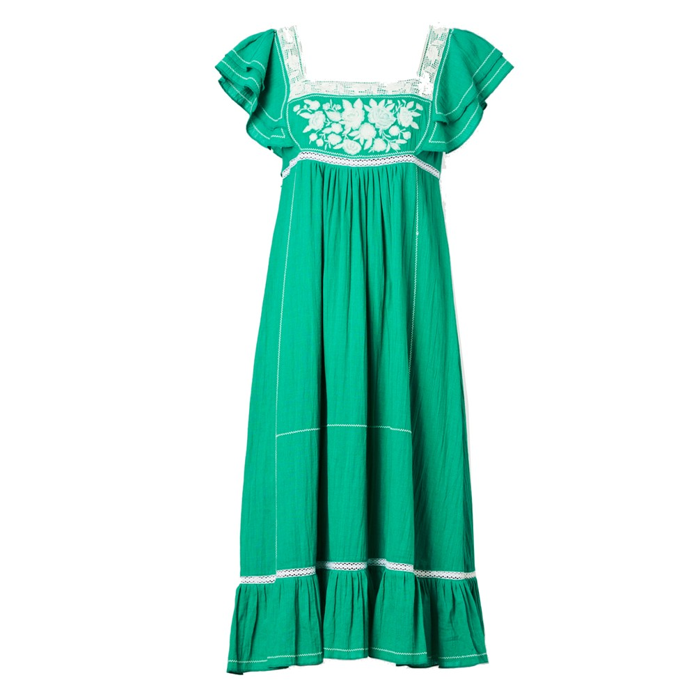 Alberta Embroidered Cotton Dress - Green & Ecru