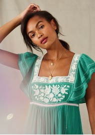 M.A.B.E Alberta Embroidered Cotton Dress - Green & Ecru