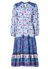 M.A.B.E Alma Printed Midi Cotton Dress - Multi