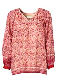 M.A.B.E Ellie Long Sleeve Cotton Top - Multi