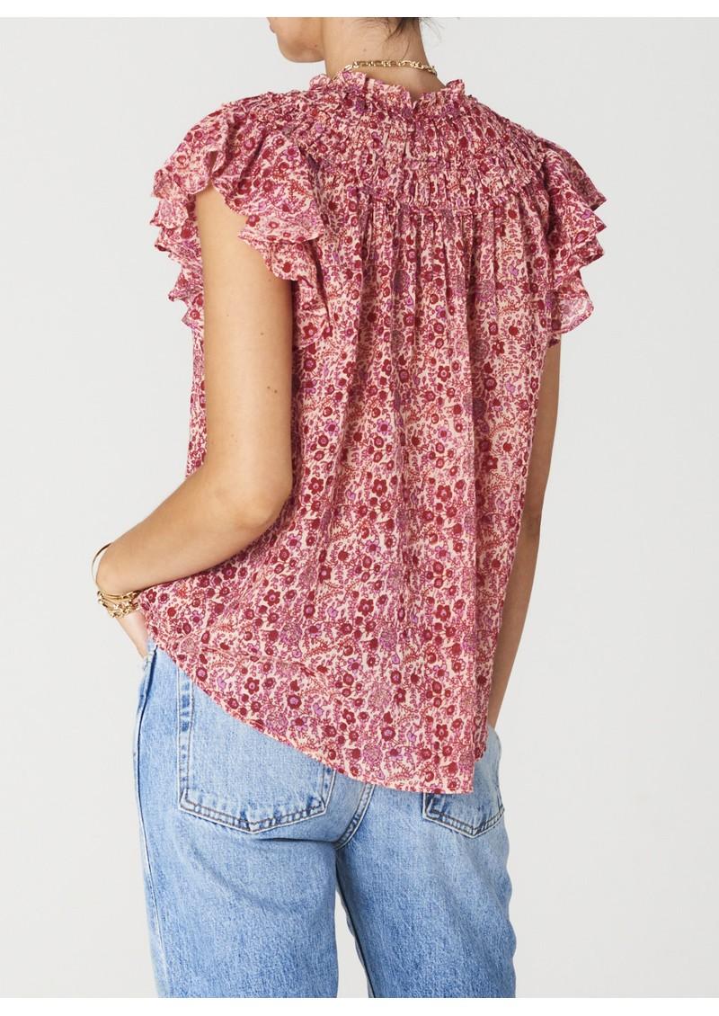 M.A.B.E Ellie Short Sleeve Frill Cotton Top - Multi main image