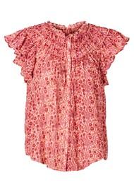 M.A.B.E Ellie Short Sleeve Frill Cotton Top - Multi
