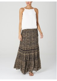 M.A.B.E Farrah Cotton Maxi Skirt - Black & Ecru